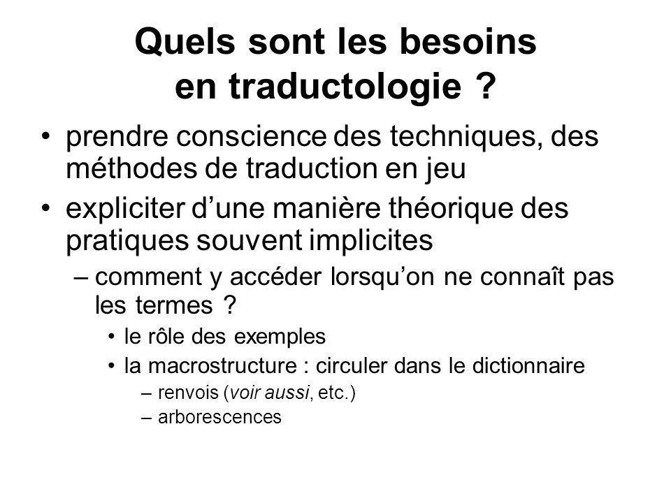 Quels sont les besoins en traductologie ? prendre conscience des techniques, des méthodes de traduction en jeu expliciter dune manière théorique des p