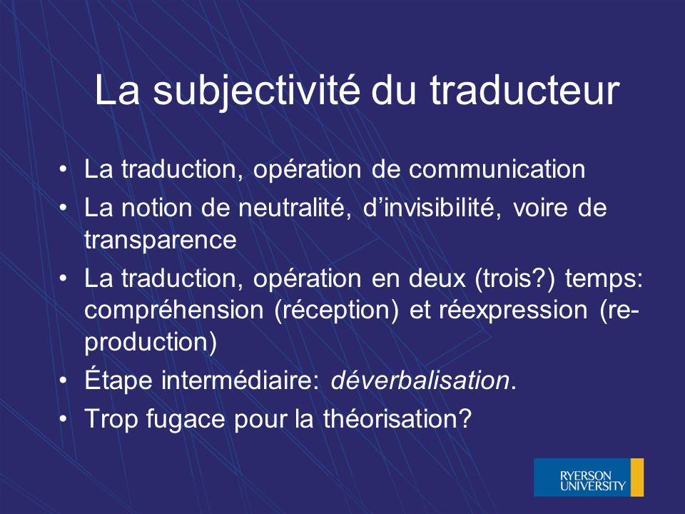 La subjectivité du traducteur La traduction, opération de communication La notion de neutralité, dinvisibilité, voire de transparence La traduction, opération en deux (trois ) temps: compréhension (réception) et réexpression (re- production) Étape intermédiaire: déverbalisation.