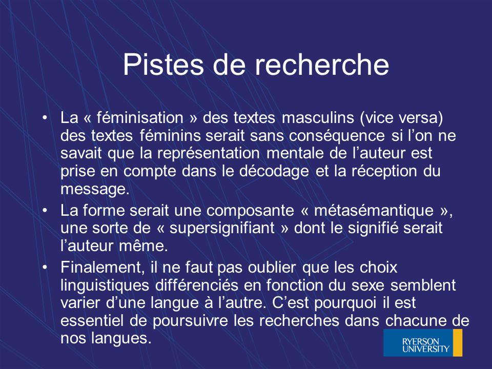 Pistes de recherche La « féminisation » des textes masculins (vice versa) des textes féminins serait sans conséquence si lon ne savait que la représentation mentale de lauteur est prise en compte dans le décodage et la réception du message.