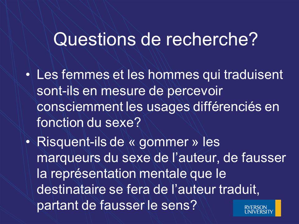 Questions de recherche.
