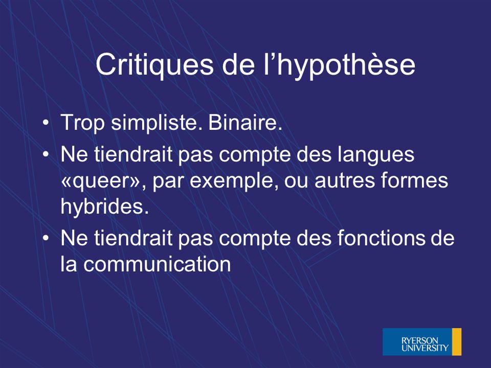 Critiques de lhypothèse Trop simpliste. Binaire.
