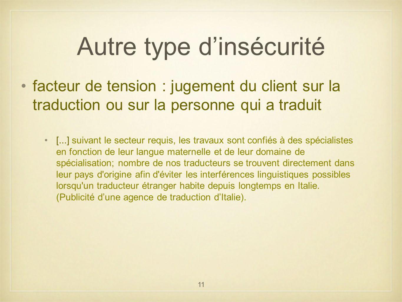 11 Autre type dinsécurité facteur de tension : jugement du client sur la traduction ou sur la personne qui a traduit [...] suivant le secteur requis,