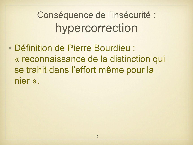 12 Conséquence de linsécurité : hypercorrection Définition de Pierre Bourdieu : « reconnaissance de la distinction qui se trahit dans leffort même pou