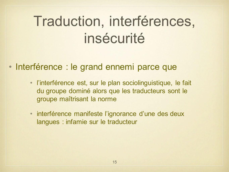 15 Traduction, interférences, insécurité Interférence : le grand ennemi parce que linterférence est, sur le plan sociolinguistique, le fait du groupe