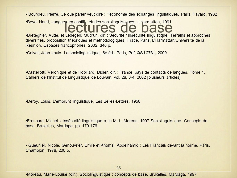 23 lectures de base Bourdieu, Pierre, Ce que parler veut dire : l'économie des échanges linguistiques, Paris, Fayard, 1982 Boyer Henri, Langues en con