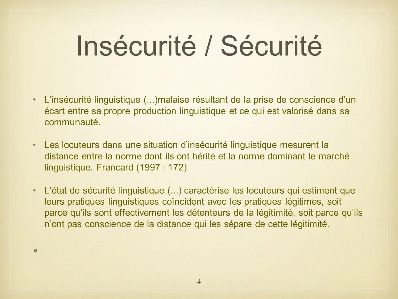 4 Insécurité / Sécurité Linsécurité linguistique (...)malaise résultant de la prise de conscience dun écart entre sa propre production linguistique et