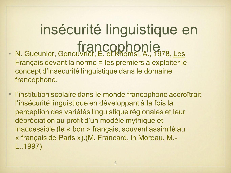 6 insécurité linguistique en francophonie N. Gueunier, Genouvrier, E. et Khomsi, A., 1978, Les Français devant la norme = les premiers à exploiter le
