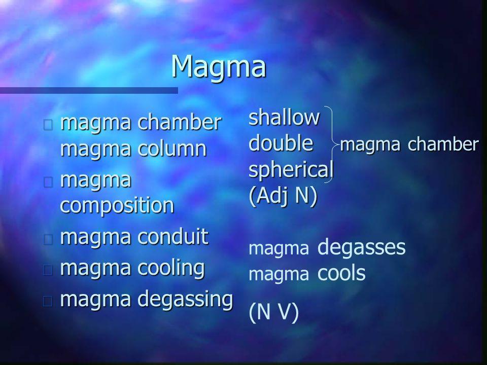 Magma n magma chamber magma column n magma composition n magma conduit n magma cooling n magma degassing shallow double magma chamber spherical (Adj N) magma degasses magma cools (N V)