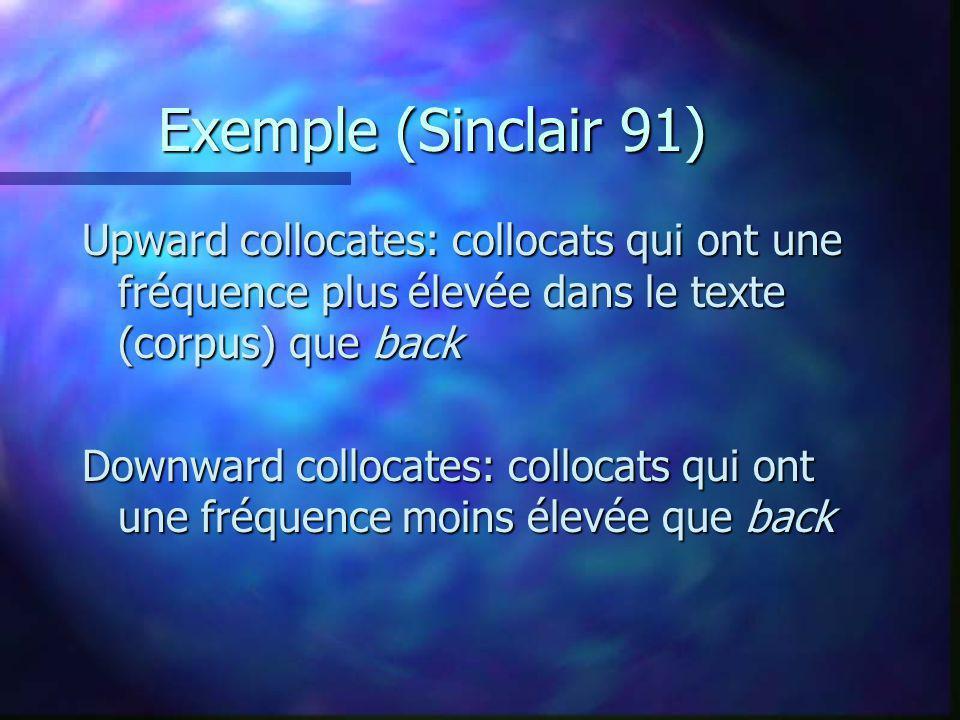 Exemple (Sinclair 91) Upward collocates: collocats qui ont une fréquence plus élevée dans le texte (corpus) que back Downward collocates: collocats qui ont une fréquence moins élevée que back
