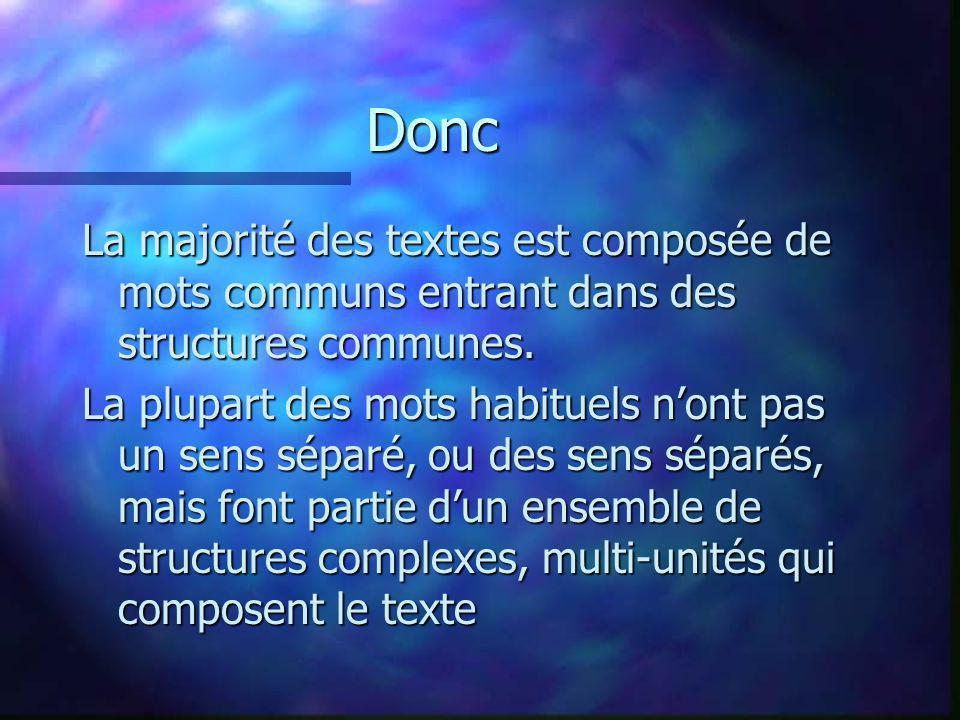 Donc La majorité des textes est composée de mots communs entrant dans des structures communes. La plupart des mots habituels nont pas un sens séparé,
