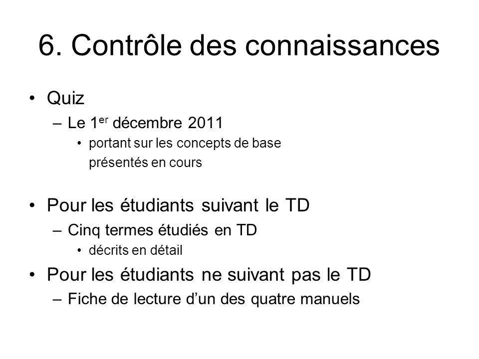 6. Contrôle des connaissances Quiz –Le 1 er décembre 2011 portant sur les concepts de base présentés en cours Pour les étudiants suivant le TD –Cinq t