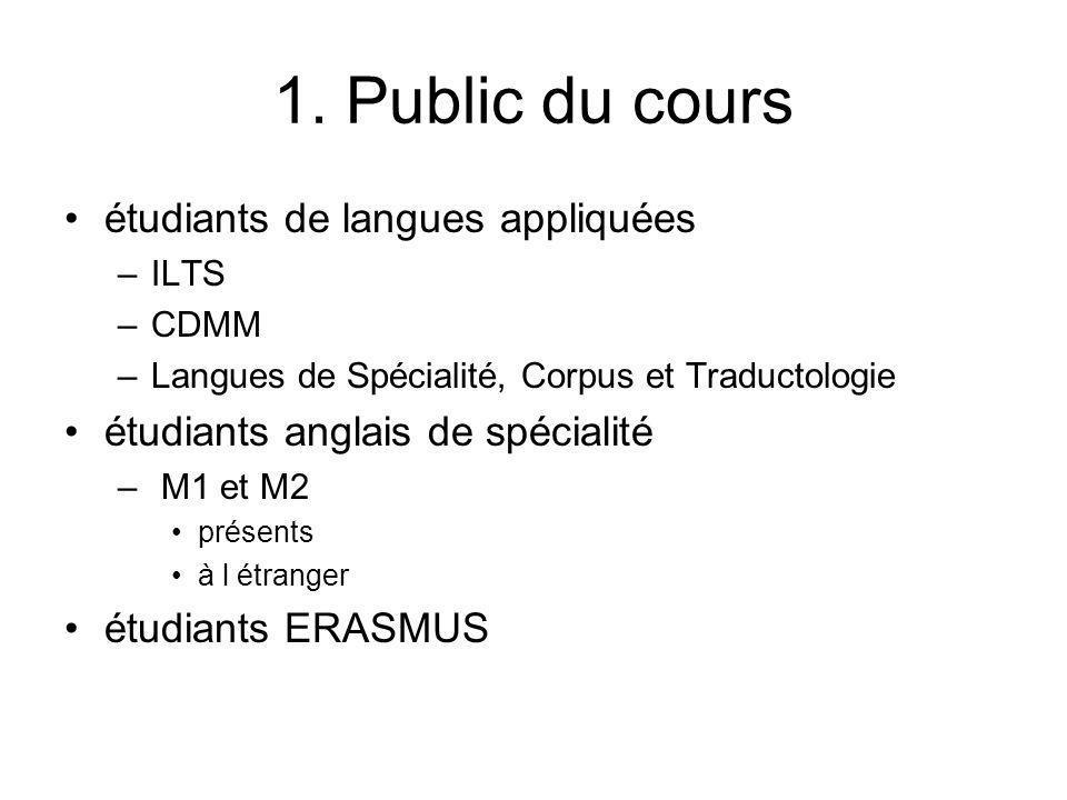 1. Public du cours étudiants de langues appliquées –ILTS –CDMM –Langues de Spécialité, Corpus et Traductologie étudiants anglais de spécialité – M1 et