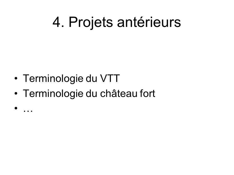4. Projets antérieurs Terminologie du VTT Terminologie du château fort …
