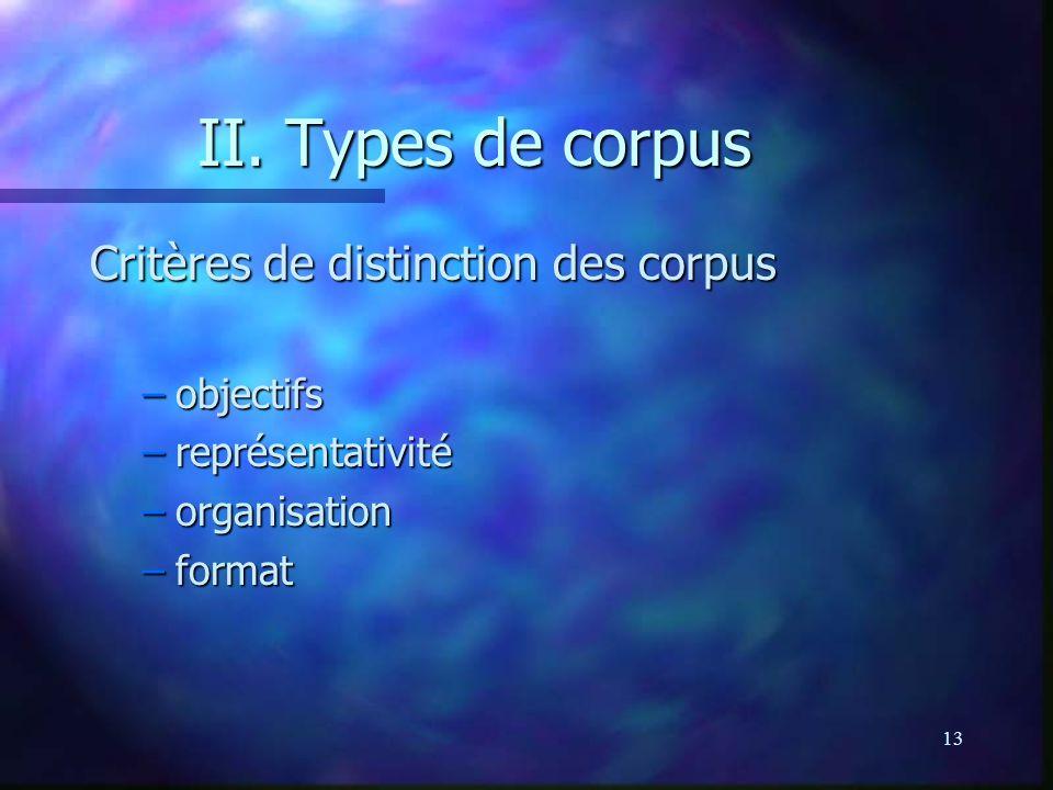 13 II. Types de corpus Critères de distinction des corpus –objectifs –représentativité –organisation –format