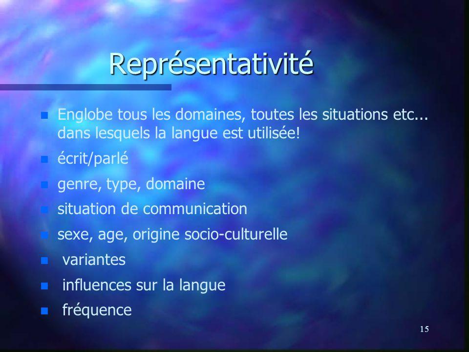 15 Représentativité n n Englobe tous les domaines, toutes les situations etc... dans lesquels la langue est utilisée! n n écrit/parlé n n genre, type,