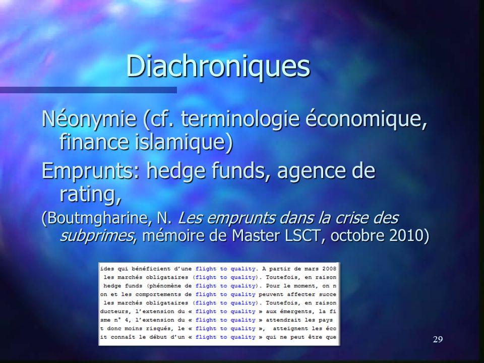 29 Diachroniques Néonymie (cf. terminologie économique, finance islamique) Emprunts: hedge funds, agence de rating, (Boutmgharine, N. Les emprunts dan