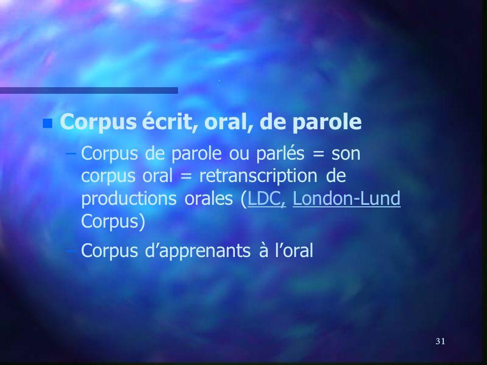 31. n n Corpus écrit, oral, de parole – –Corpus de parole ou parlés = son corpus oral = retranscription de productions orales (LDC, London-Lund Corpus