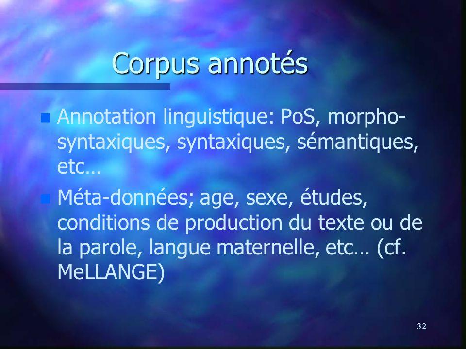 32 Corpus annotés n n Annotation linguistique: PoS, morpho- syntaxiques, syntaxiques, sémantiques, etc… n n Méta-données; age, sexe, études, condition