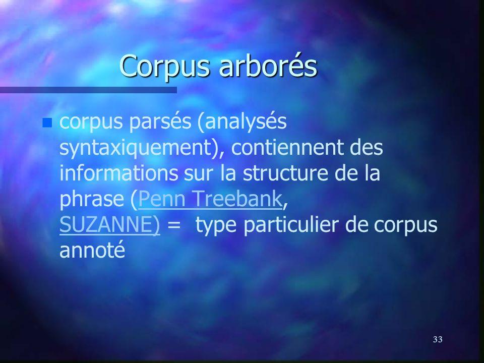 33 Corpus arborés n n corpus parsés (analysés syntaxiquement), contiennent des informations sur la structure de la phrase (Penn Treebank, SUZANNE) = type particulier de corpus annotéPenn Treebank SUZANNE)