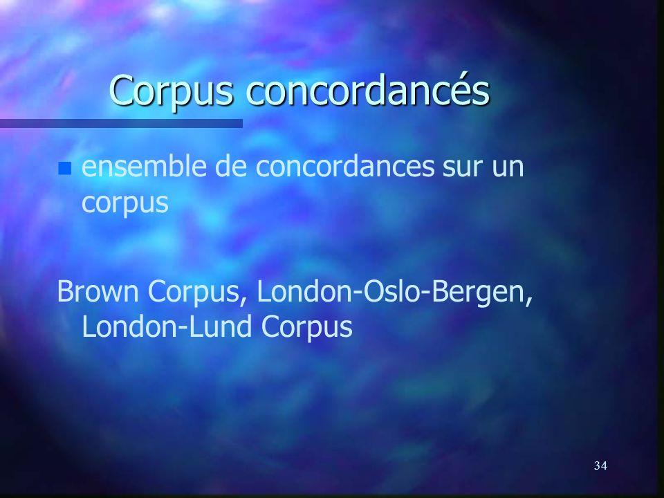 34 Corpus concordancés n n ensemble de concordances sur un corpus Brown Corpus, London-Oslo-Bergen, London-Lund Corpus