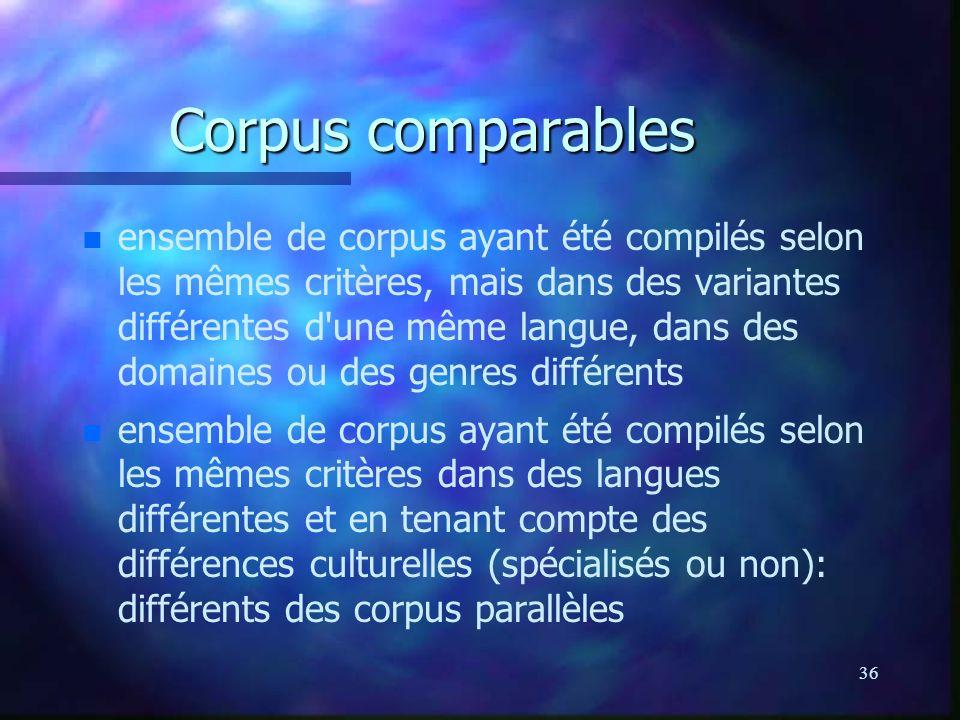 36 Corpus comparables n n ensemble de corpus ayant été compilés selon les mêmes critères, mais dans des variantes différentes d une même langue, dans des domaines ou des genres différents n n ensemble de corpus ayant été compilés selon les mêmes critères dans des langues différentes et en tenant compte des différences culturelles (spécialisés ou non): différents des corpus parallèles
