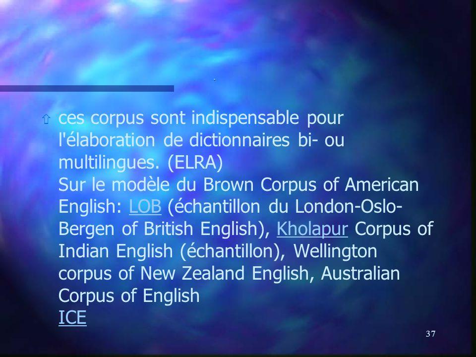 37. ñ ñ ces corpus sont indispensable pour l'élaboration de dictionnaires bi- ou multilingues. (ELRA) Sur le modèle du Brown Corpus of American Englis