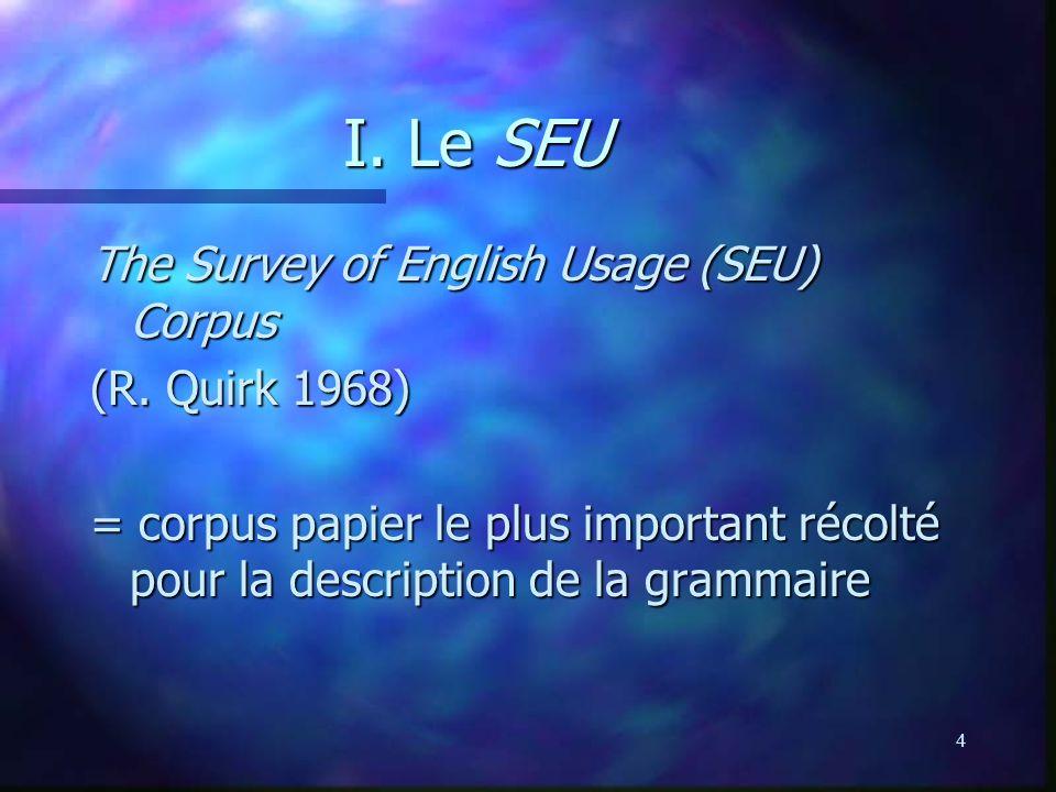 4 I. Le SEU The Survey of English Usage (SEU) Corpus (R. Quirk 1968) = corpus papier le plus important récolté pour la description de la grammaire
