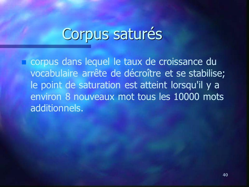 40 Corpus saturés n n corpus dans lequel le taux de croissance du vocabulaire arrête de décroître et se stabilise; le point de saturation est atteint lorsqu il y a environ 8 nouveaux mot tous les 10000 mots additionnels.