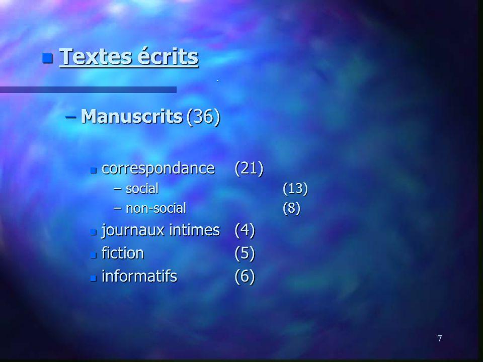 7. n Textes écrits –Manuscrits(36) n correspondance(21) –social(13) –non-social(8) n journaux intimes(4) n fiction(5) n informatifs(6)
