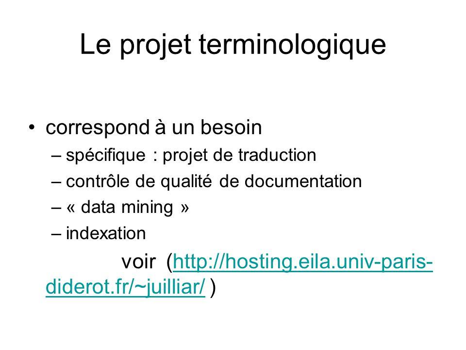 Types de projet terminologie ponctuelle terminologie systématique –par micro-domaines ex IATE – ex Eurodicautom : –projets qualité de leau