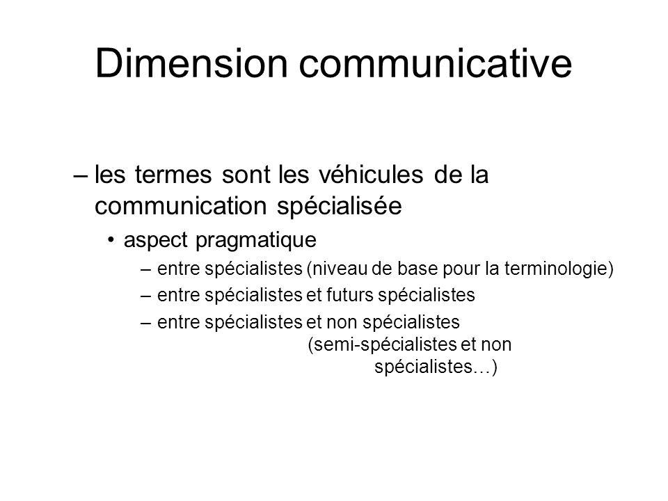 Dimension cognitive –les termes renvoient à un référent spécialisé la terminologie cherche à rendre compte de la structuration des connaissances spécialisées –arborescence terminologique