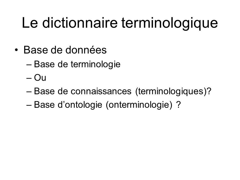composantes Représentation graphique - arborescences Représentations linguistiques - thésaurus - fiche de terminologie - composée de champs
