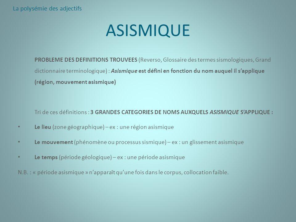 ASISMIQUE PROBLEME DES DEFINITIONS TROUVEES (Reverso, Glossaire des termes sismologiques, Grand dictionnaire terminologique) : Asismique est défini en