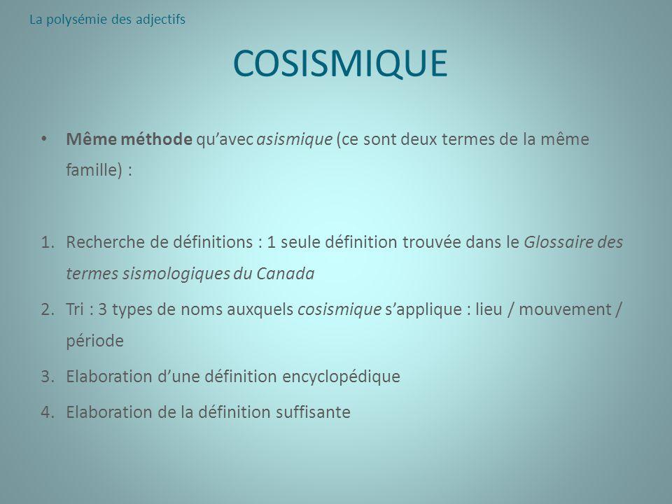COSISMIQUE Même méthode quavec asismique (ce sont deux termes de la même famille) : 1.Recherche de définitions : 1 seule définition trouvée dans le Gl