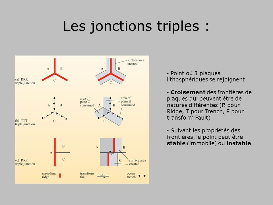 Les jonctions triples : Point où 3 plaques lithosphériques se rejoignent Croisement des frontières de plaques qui peuvent être de natures différentes (R pour Ridge, T pour Trench, F pour transform Fault) Suivant les propriétés des frontières, le point peut être stable (immobile) ou instable