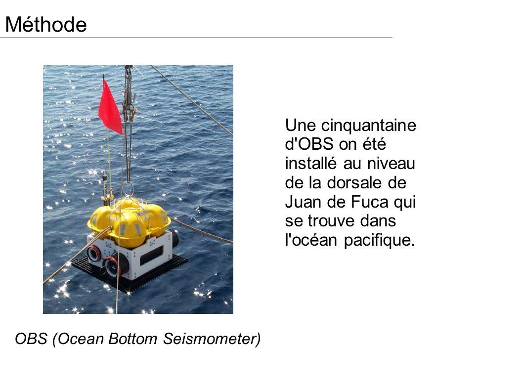 Méthode OBS (Ocean Bottom Seismometer) Une cinquantaine d OBS on été installé au niveau de la dorsale de Juan de Fuca qui se trouve dans l océan pacifique.