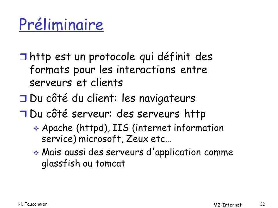 Préliminaire r http est un protocole qui définit des formats pour les interactions entre serveurs et clients r Du côté du client: les navigateurs r Du côté serveur: des serveurs http Apache (httpd), IIS (internet information service) microsoft, Zeux etc… Mais aussi des serveurs d application comme glassfish ou tomcat M2-Internet 32 H.