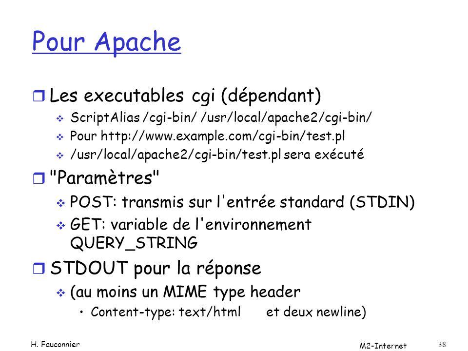 Pour Apache r Les executables cgi (dépendant) ScriptAlias /cgi-bin/ /usr/local/apache2/cgi-bin/ Pour http://www.example.com/cgi-bin/test.pl /usr/local/apache2/cgi-bin/test.pl sera exécuté r Paramètres POST: transmis sur l entrée standard (STDIN) GET: variable de l environnement QUERY_STRING r STDOUT pour la réponse (au moins un MIME type header Content-type: text/htmlet deux newline) M2-Internet 38 H.
