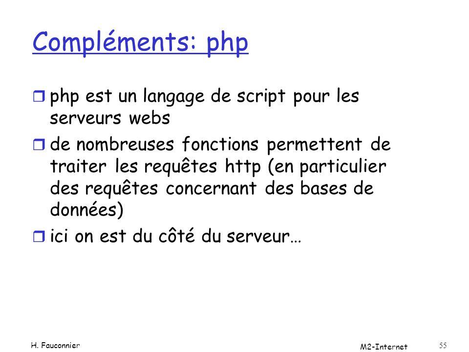 M2-Internet 55 Compléments: php r php est un langage de script pour les serveurs webs r de nombreuses fonctions permettent de traiter les requêtes http (en particulier des requêtes concernant des bases de données) r ici on est du côté du serveur… H.