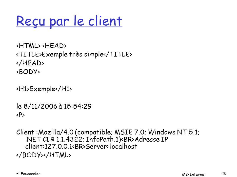 M2-Internet 58 Reçu par le client Exemple très simple Exemple le 8/11/2006 à 15:54:29 Client :Mozilla/4.0 (compatible; MSIE 7.0; Windows NT 5.1;.NET CLR 1.1.4322; InfoPath.1) Adresse IP client:127.0.0.1 Server: localhost H.