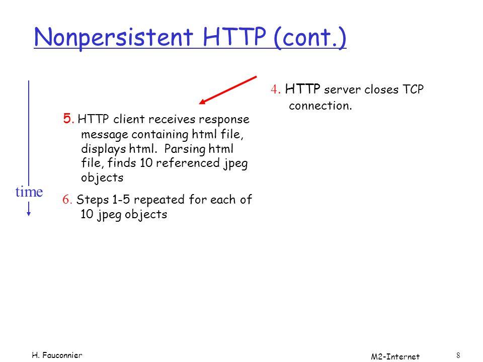 M2-Internet 39 Exemple r en shell: date.cgi #!/bin/sh tmp=`/bin/date` echo Content-type: text/html\n Script Cgi La date courante sur le serveur est $tmp l URL affichera la date http://localhost/cgi-bin/date.cgi H.