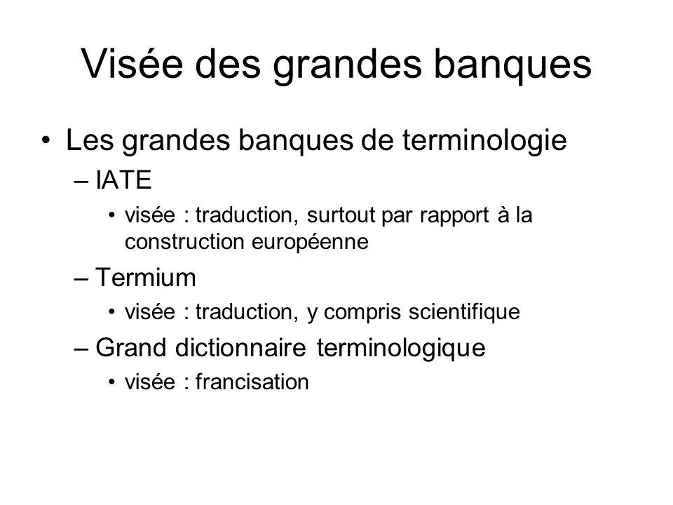 Visée des grandes banques Les grandes banques de terminologie –IATE visée : traduction, surtout par rapport à la construction européenne –Termium visé