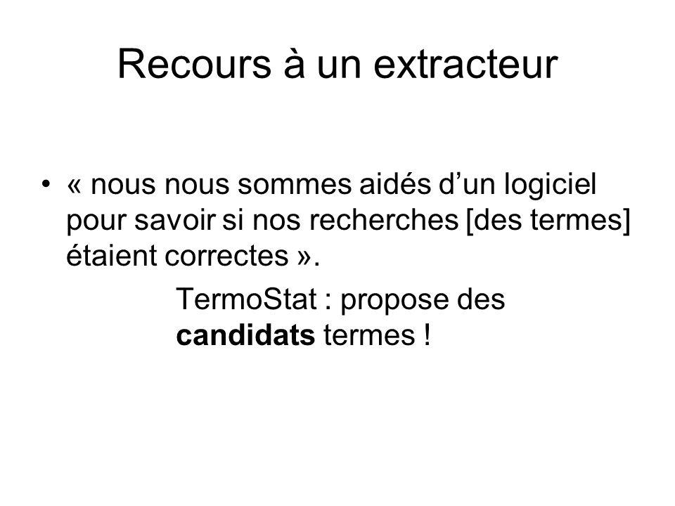 Recours à un extracteur « nous nous sommes aidés dun logiciel pour savoir si nos recherches [des termes] étaient correctes ». TermoStat : propose des