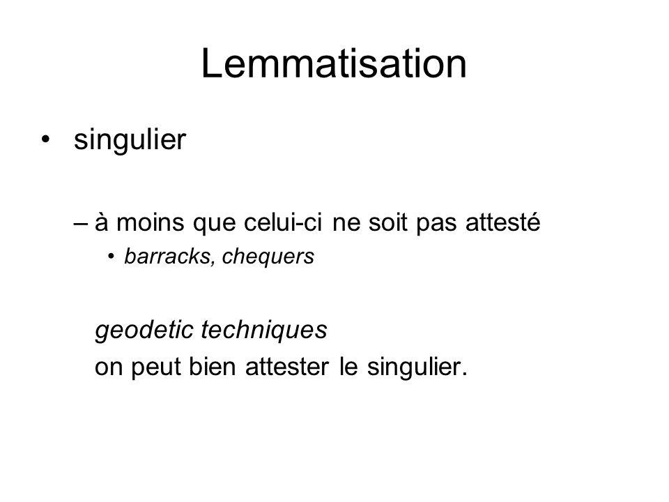 Lemmatisation singulier –à moins que celui-ci ne soit pas attesté barracks, chequers geodetic techniques on peut bien attester le singulier.