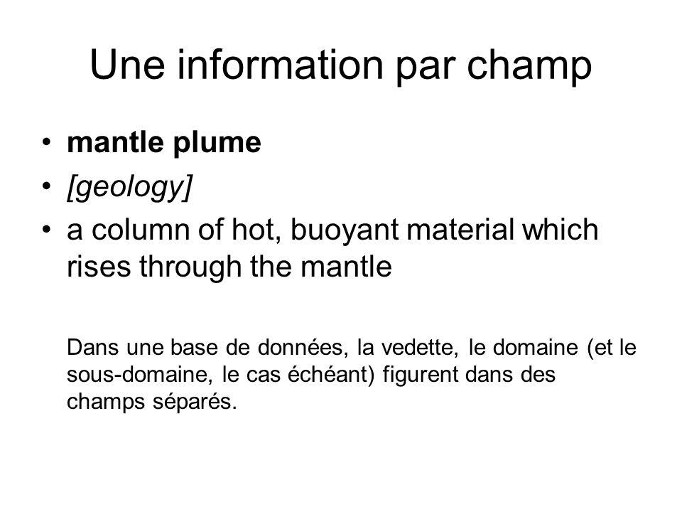 Une information par champ mantle plume [geology] a column of hot, buoyant material which rises through the mantle Dans une base de données, la vedette