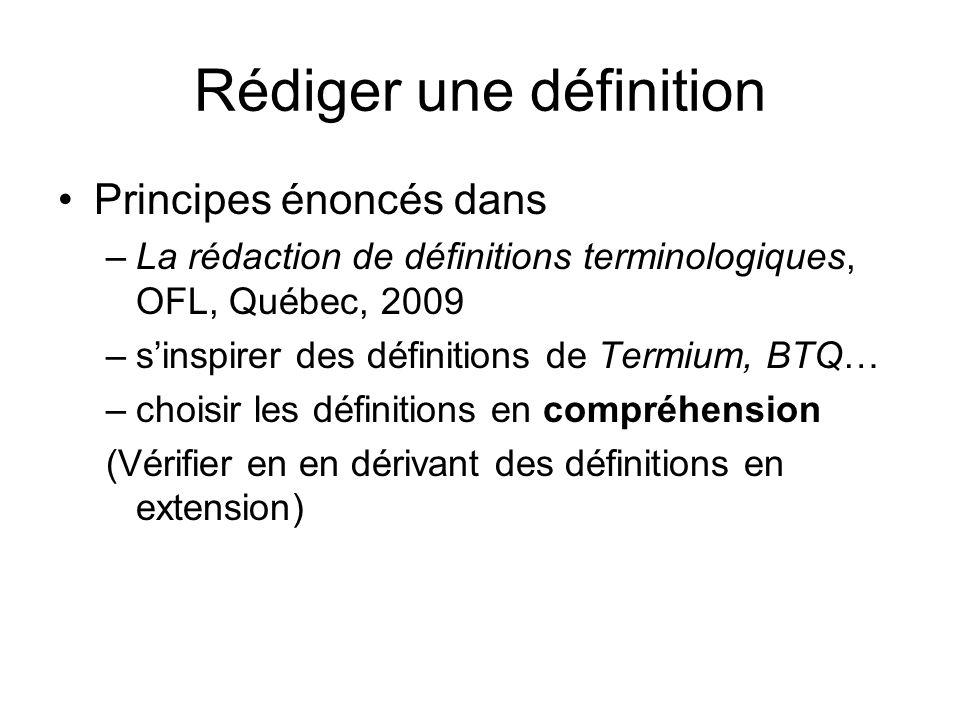 Rédiger une définition Principes énoncés dans –La rédaction de définitions terminologiques, OFL, Québec, 2009 –sinspirer des définitions de Termium, B