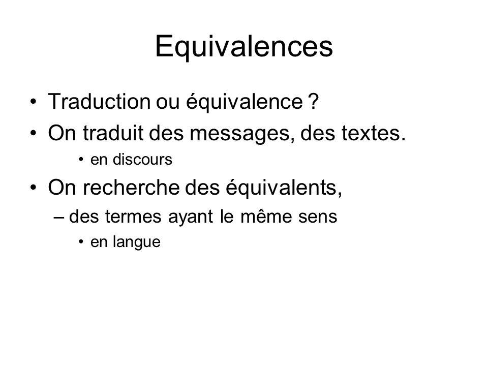 Equivalences Traduction ou équivalence ? On traduit des messages, des textes. en discours On recherche des équivalents, –des termes ayant le même sens
