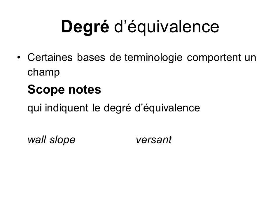 Degré déquivalence Certaines bases de terminologie comportent un champ Scope notes qui indiquent le degré déquivalence wall slope versant