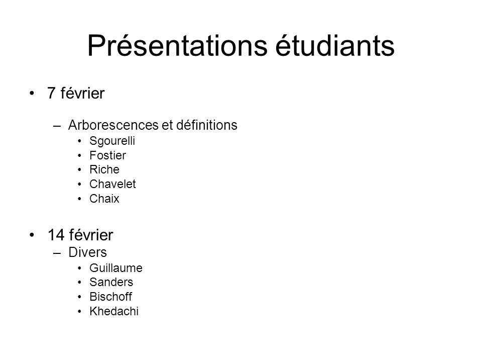 Présentations étudiants 7 février –Arborescences et définitions Sgourelli Fostier Riche Chavelet Chaix 14 février –Divers Guillaume Sanders Bischoff K
