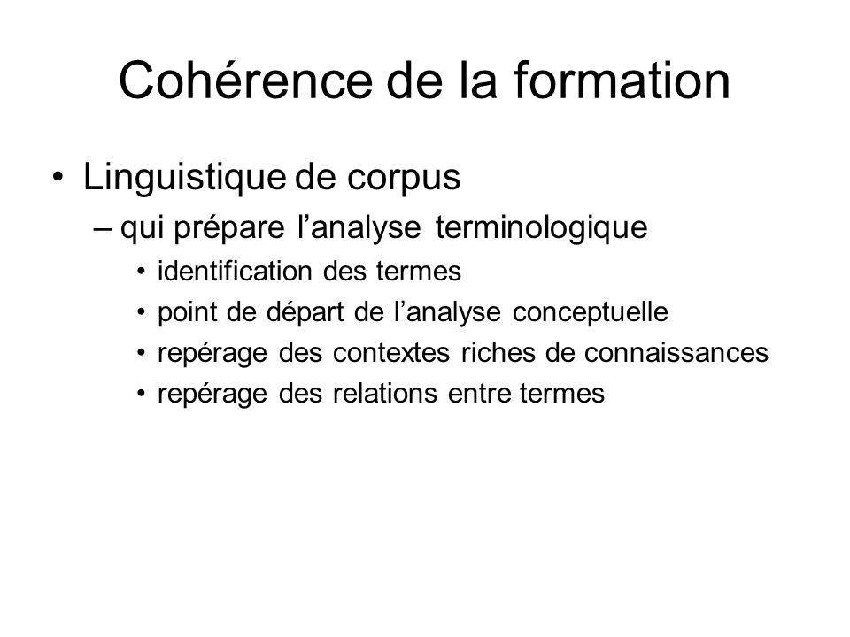 Cohérence de la formation Linguistique de corpus –qui prépare lanalyse terminologique identification des termes point de départ de lanalyse conceptuel